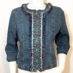 Ruby Rd Embellished Zip Up Denim Jacket